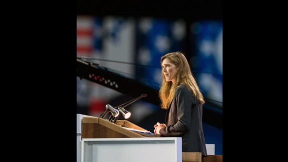 U.S. Ambassador to the United Nations and Pulitzer Prize-winning author Samantha Power spoke at the University of Pennsylvania on May 18.