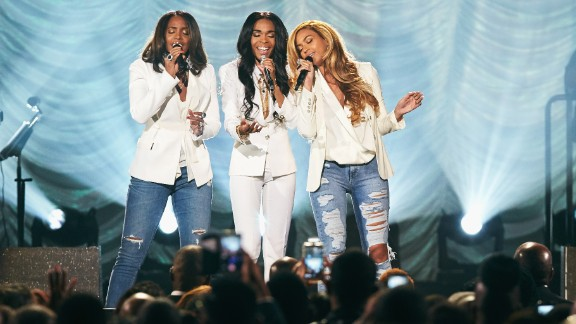 Michelle Williams, Kelly Rowland and Beyonce performing  in Las Vegas in 2015.