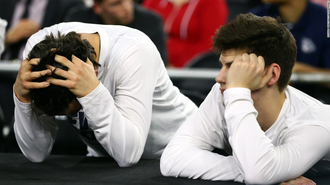 Members of the Gonzaga Bulldogs look on in the closing minutes against the Duke Blue Devils during the South Regional Final of the 2015 NCAA Men's Basketball Tournament at NRG Stadium on March 29, 2015 in Houston, Texas.