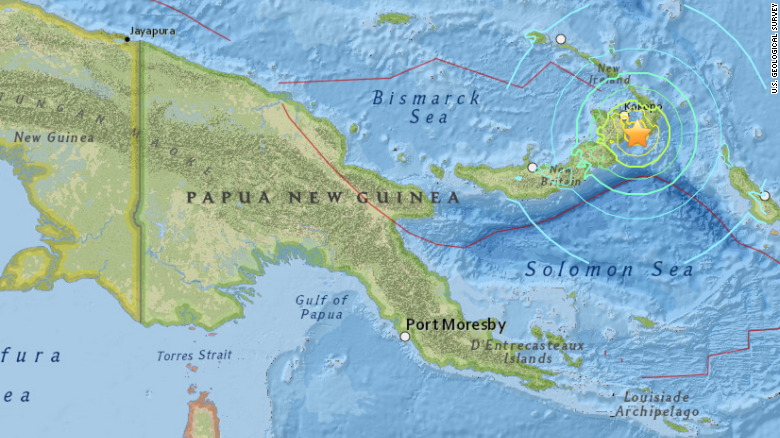 Major quake strikes off papua new guinea in the south pacific cnn a map by the us geological survey shows the epicenter of an magnitude 77 earthquake gumiabroncs Gallery