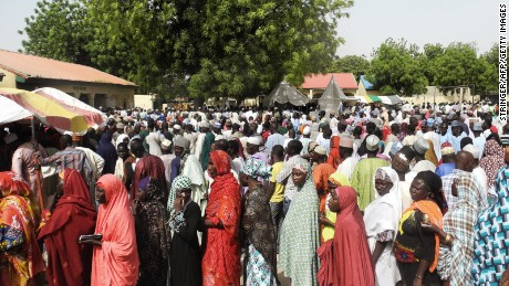 Women at an Internally Displaced People (IDP) camp in northern Nigeria queue to register for the election on March 28.