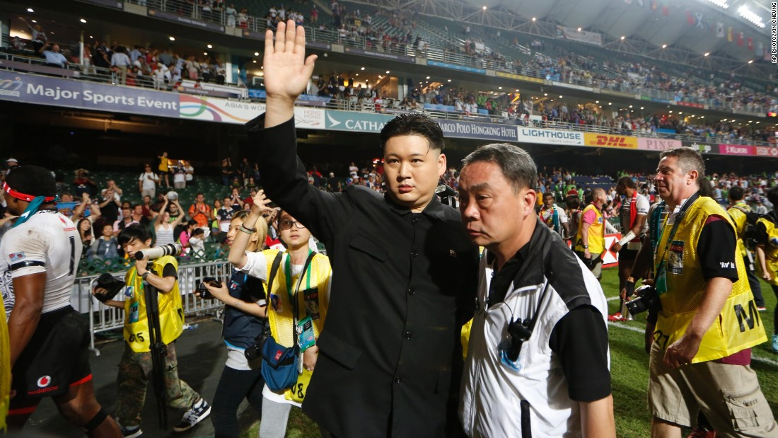 A Kim Jong Un impersonator, who identified himself as Howard, also made an appearance on the pitch on Sunday.