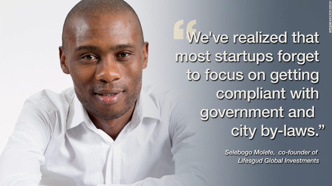 "<a href=""www.thehookupdinner.com"" target=""_blank"">Selebogo Molefe</a> co-founded his business events company in South Africa that provides networking opportunities to the startup community. He says the lack of focus on getting compliant with government and citu by-laws inhibits startups from accessing market opportunities ""that exist for enterprise development as well as supply chain opportunities from government and corporate organizations.""<br /><br /><a href=""/2014/03/14/business/5-networking-tips-to-grow-startup/"" target=""_blank""><strong>Read this: 5 networking tips for startups</strong></a>"