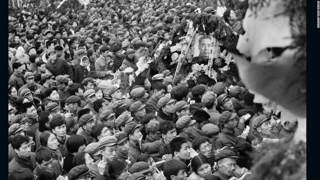 Wang has also covered most major news events in China of the past four decades. Here, people gather in Tiananmen Square in Beijing in an unprompted outpouring of grief for late Premier Zhou Enlai in 1976. He took the photos secretly and they weren't published until the 1980s.