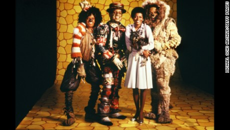 "The cast of ""The Wiz"" (L-R Michael Jackson, Nipsey Russell, Diana Ross and Ted Ross) pose for a publicity shot in 1978 in New York, New York. The movie was directed by Sidney Lumet and produced by Universal Studios."