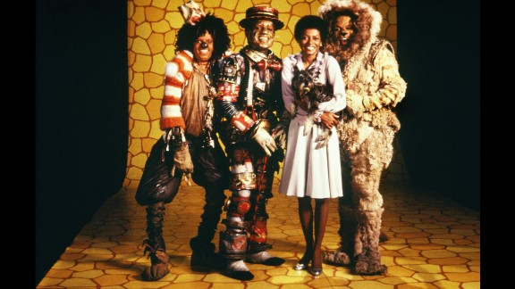 """The cast of """"The Wiz"""" (L-R Michael Jackson, Nipsey Russell, Diana Ross and Ted Ross) pose for a publicity shot in 1978 in New York, New York. The movie was directed by Sidney Lumet and produced by Universal Studios."""