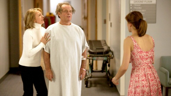 """Something had to give in terms of traditional hospital gown design. Diane Keaton, Jack Nicholson and Amanda Peet, from the film """"Something's Gotta Give."""""""