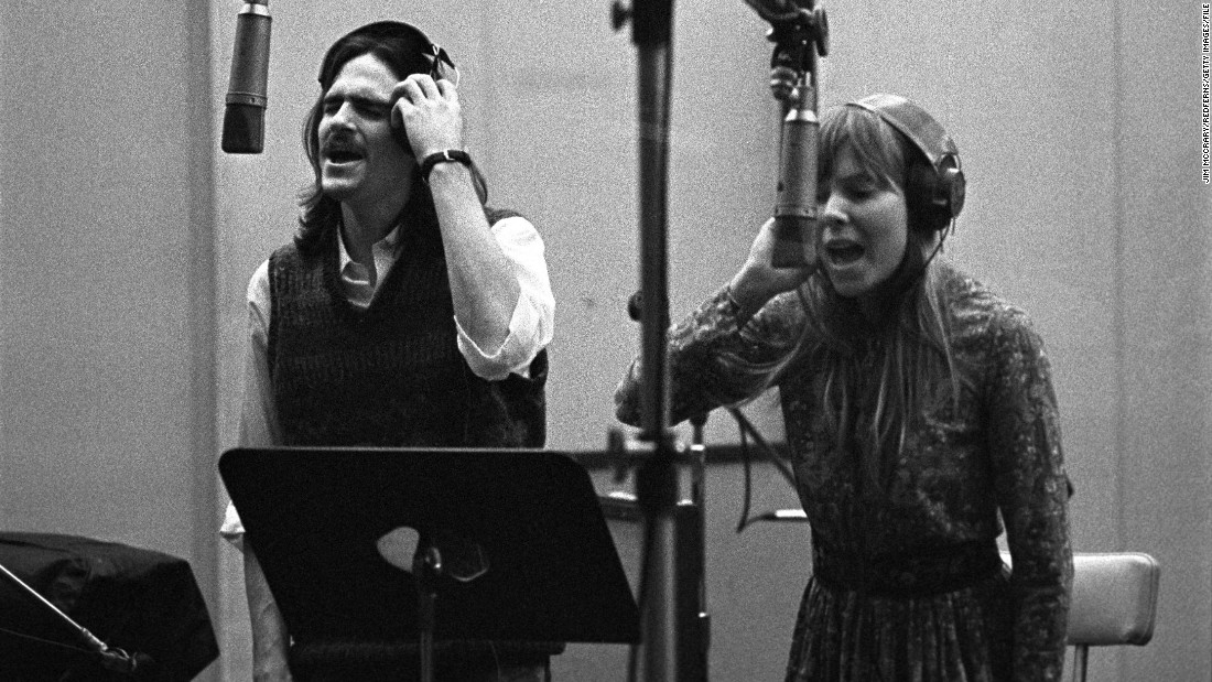 "James Taylor and Mitchell provide backing vocals for Carole King's famous ""Tapestry"" album at A&M Records studio in Los Angeles in 1971."
