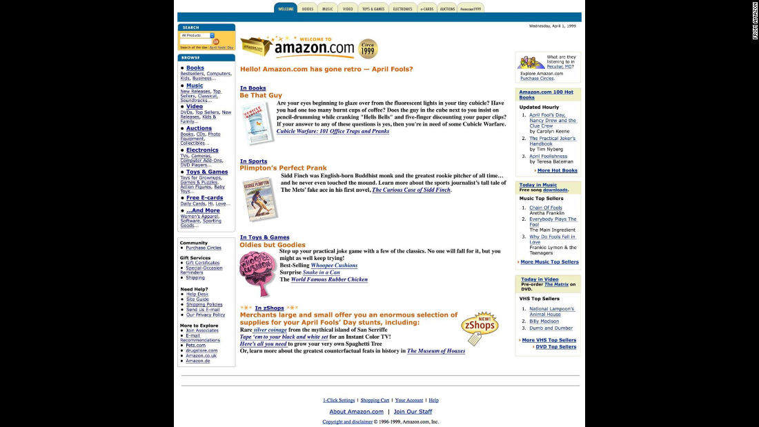 "Amazon took customers back to 1999 with <a href=""http://www.amazon.com/"" target=""_blank"">a retro-looking home page</a>. Its top sellers in music and books include ""Chain of Fools"" and ""The Practical Joker's Handbook."""