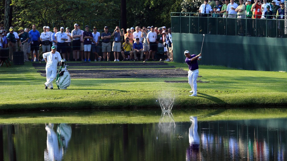 On the golf course, there's a fine line between skipping towards glory and falling flat. Here, former British Open champion Darren Clarke skips the ball over the water during a practice round prior to 2012 Masters Tournament at Augusta.