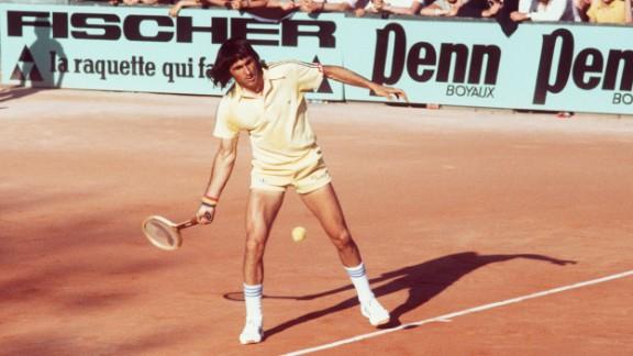 Ilie Nastase returns a ball during the Paris International tournament in June 1977.