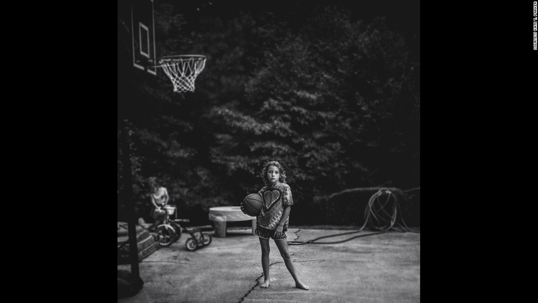 The basketball hoop came home as a Father's Day gift, Parker said, but her husband isn't the only one who plays.