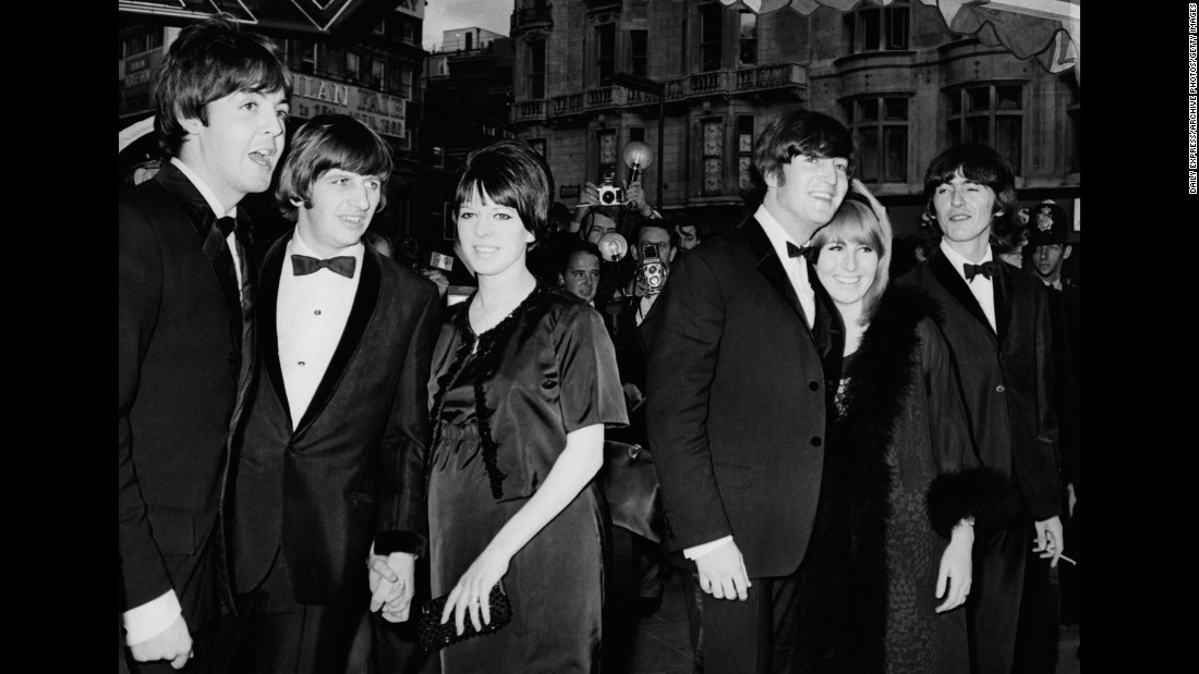 From Left Paul McCartney Ringo Starr And His Wife Maureen John