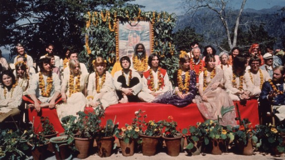 The Beatles and their wives are seen in Rishikesh, India, with Maharishi Mahesh Yogi in March 1968.