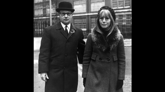Cynthia Lennon is seen in November 1968 outside the Royal Courts of Justice in London, where she was starting divorce proceedings against her husband.