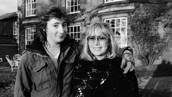 Julian Lennon poses with his mother at their home in North Wales circa 1980.