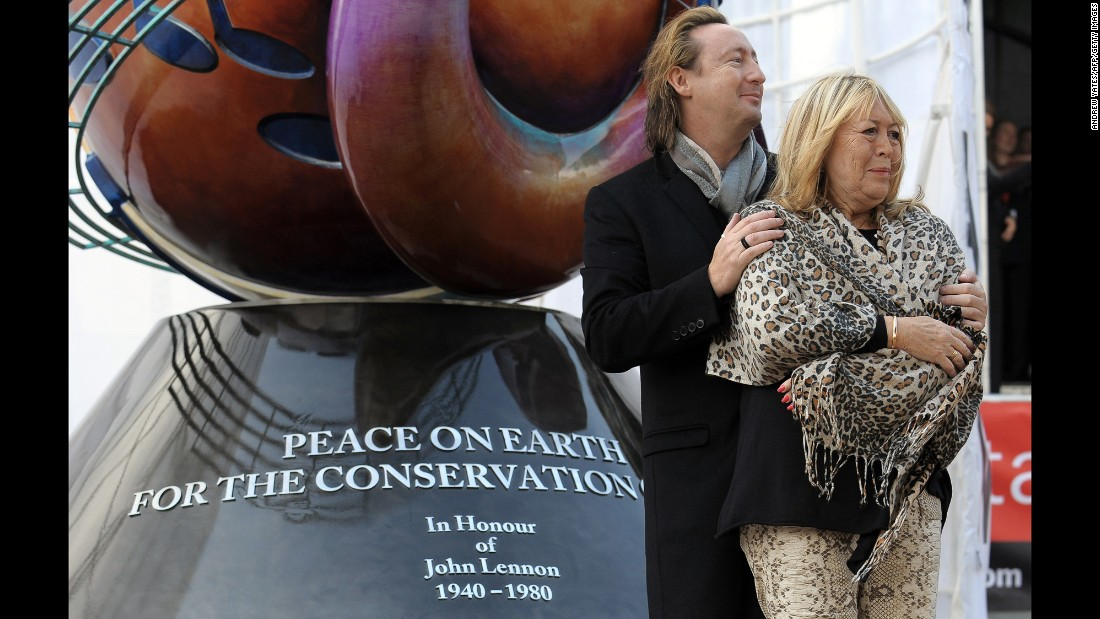 Julian And Cynthia Lennon Unveil A European Peace Monument Dedicated To The Memory Of John