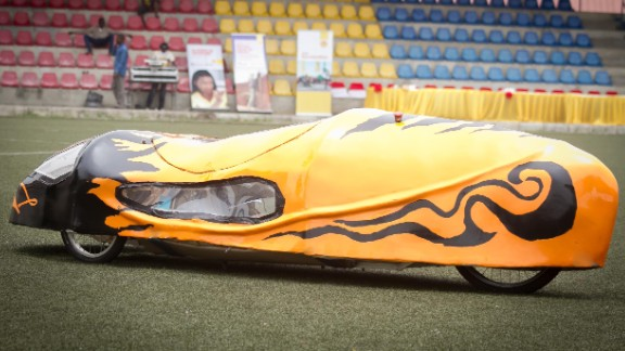 """Made from fiberglass, the """"Autonov III"""" from the University of Lagos is shaped like a teardrop to minimize drag."""
