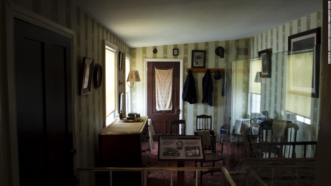 "Lincoln, whose wound was found to be mortal, was taken from Ford's Theatre to the <a href=""http://www.nps.gov/foth/the-petersen-house.htm"" target=""_blank"">Petersen House</a>, which is now maintained by the National Park Service. His body was laid across a bed too small for him, and doctors, family and officials kept vigil. He died at 7:22 a.m. April 15. Secretary of War Edwin Stanton was said to declare, ""Now, he belongs to the ages."" The bed is on display (through February) at the Abraham Lincoln Presidential Library and Museum in Springfield, Illinois."