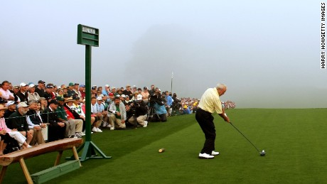 Honorary starter Arnold Palmer hits the ceremonial first tee shot during the first round of the 2008 Masters Tournament at Augusta National Golf Club on April 10, 2008 in Augusta, Georgia.