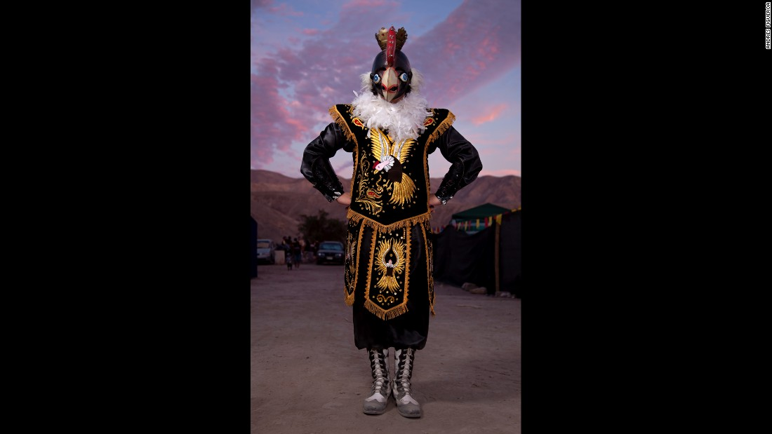 Fabian Quintanilla, from Iquique, dresses in costume for a festival in San Lorenzo de Tarapaca.