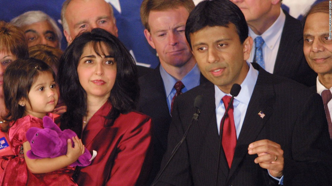 Jindal concedes defeat in the 2003 Louisiana governor's race at his election headquarters, with wife Supriya and 2-year-old daughter Selia-Elizabeth at his side.