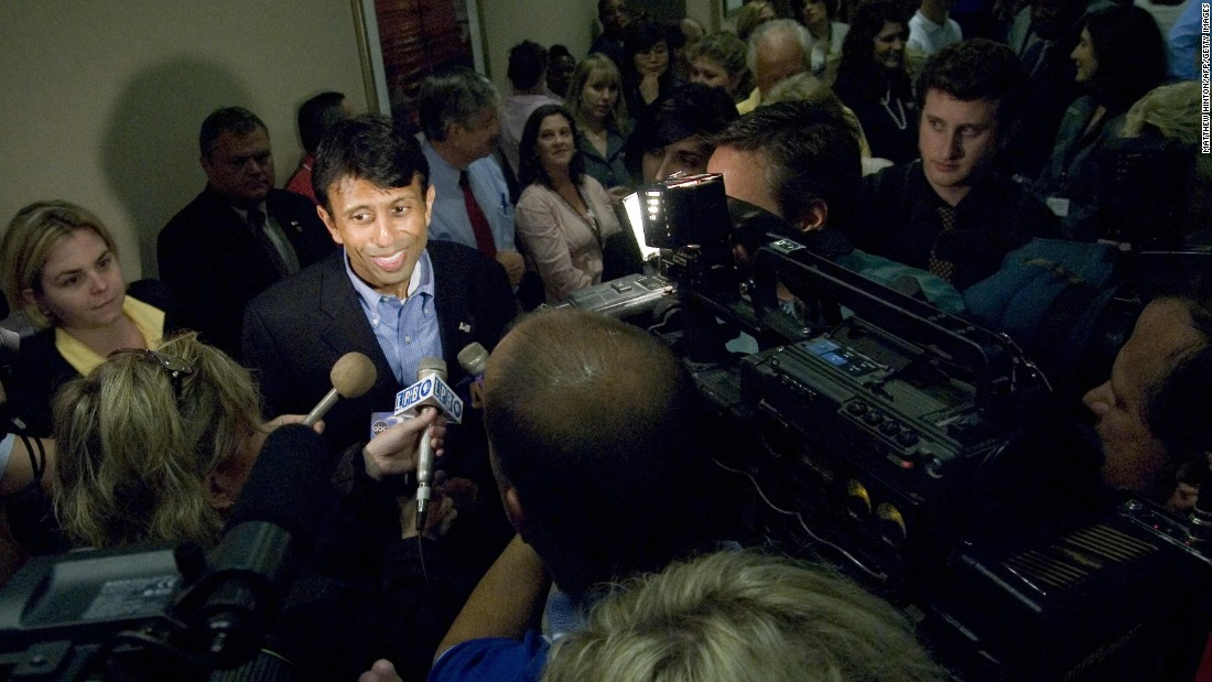 Jindal speaks to the media at a rally in Covington after his victory in the 2007 gubernatorial race.