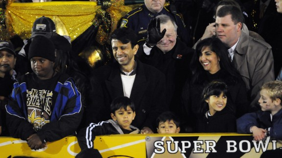 Jindal, his wife Supriya and children attend the New Orleans Saints Super Bowl XLIV victory parade on February 9, 2010.