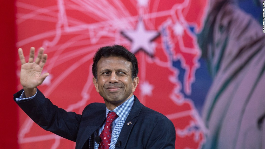 Louisiana Gov. Bobby Jindal waves to the crowd at the annual Conservative Political Action Conference (CPAC) at National Harbor, Maryland, where he spoke on February 26, 2015.