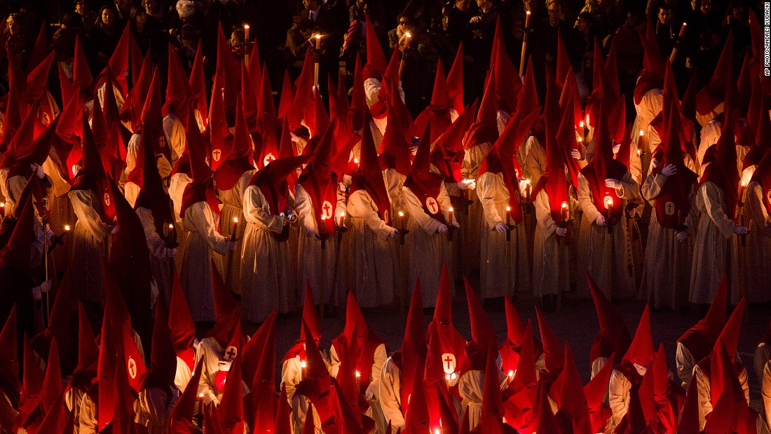 "APRIL 2 - ZAMORA, SPAIN: Penitents take part in the ""Procesion del Silencio"" (Procession of Silence) by the ""Cristo de las Injurias"" brotherhood, during the Holy Week. Hundreds of processions take place throughout Spain during this time."