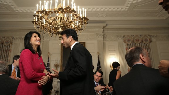 Jindal talks with South Carolina Gov. Nikki Haley before President Barack Obama addressed members of the National Governors Association at the White House on February 23.