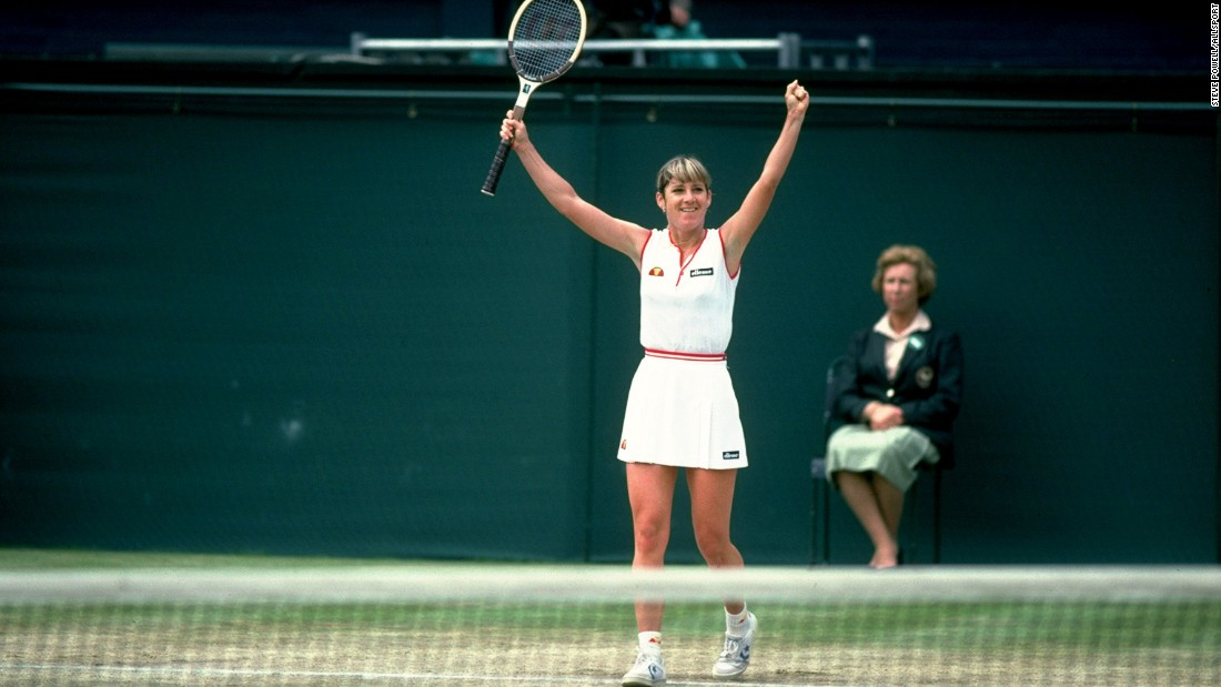 Chris Evert of the U.S. is one of two women to win over a thousand matches, clocking a total of 1,309 wins across a glittering career.