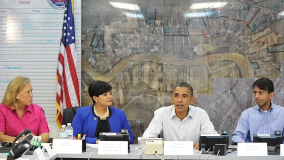 Following Hurricane Isaac, which hit Louisiana in August 2012, Jindal takes part in a briefing with President Obama, Sen. Mary Landrieu, D-Louisiana (left) and Saint John the Baptist Parish President Natalie Robottom in the Emergency Operations Center in LaPlace, Louisiana.