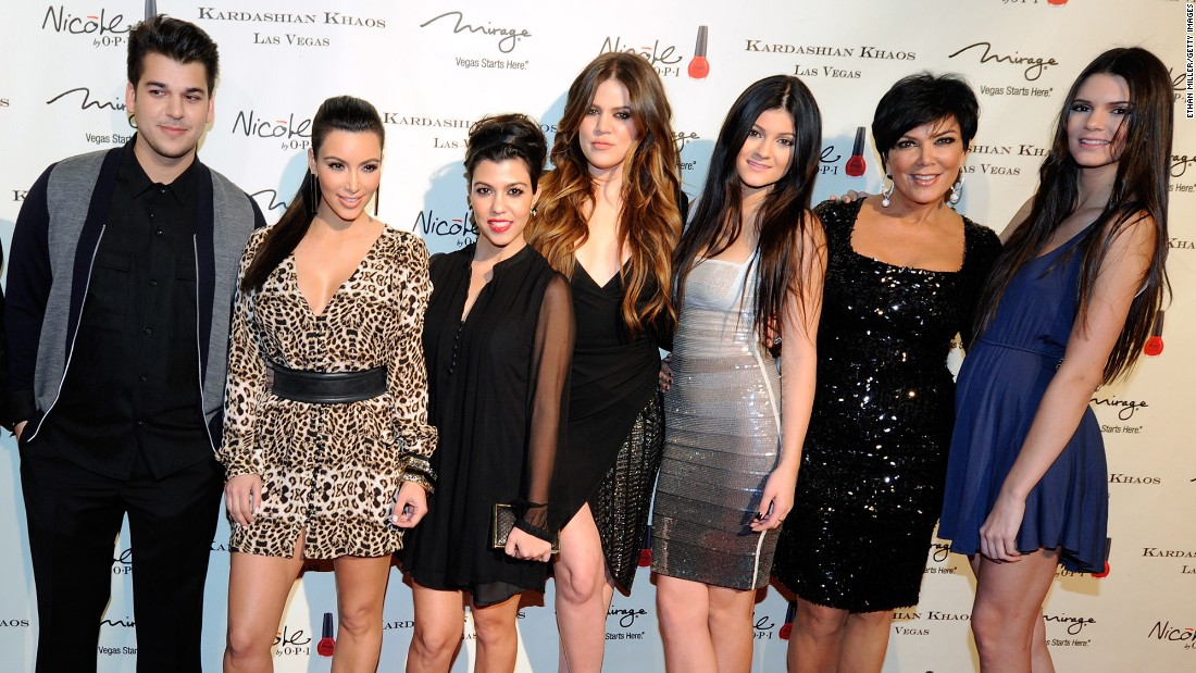 "The Kardashian family has made a name for themselves through their namesake reality show, ""Keeping Up with the Kardashians."" Pictured, from left, television personalities Rob Kardashian, Kim Kardashian, Kourtney Kardashian, Khloe Kardashian, Kylie Jenner, mom Kris Jenner and Kendall Jenner."