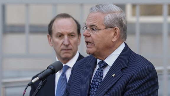 NEWARK, NJ - APRIL 02: U.S. Sen. Robert Menendez (D-NJ) speaks next to attorney Abbe Lowell outside the federal court after he was indicted on corruption charges on April 2, 2015 in Newark, New Jersey. Sen. Menendez and Dr. Salomon Melgen are being indicted on corruption charges stemming from the senator being accused of accepting nearly $1 million in gifts and campaign contributions.