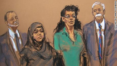 Noelle Velentzas, left, and Asia Siddiqui sketched in court in 2015