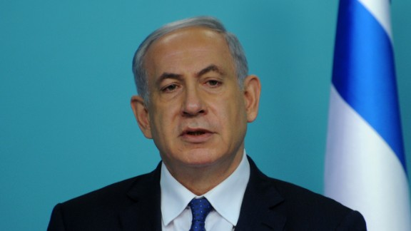 Caption:Israeli Prime Minister Benjamin Netanyahu makes a statement to the press about negotiations with Iran at his office in Jerusalem on April 1, 2015. World powers must toughen their stance to reach a