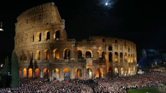 Pope Francis leads the Way of The Cross at the Colosseum on April 3, 2015, in Rome.