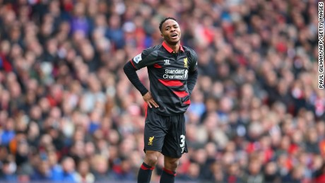 Liverpool's Raheem Sterling cuts a frustrated figure in his side's matchup with Arsenal.