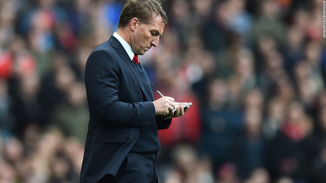 Liverpool coach Brendan Rogers had lots to discuss during the break.