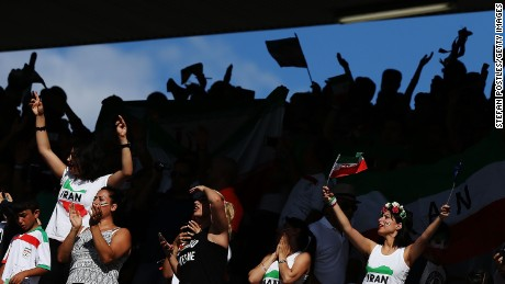 Iranian fans cheer on their team during the 2015 Asian Cup match between Iran and Iraq at Canberra Stadium in January.