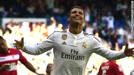 Cristiano Ronaldo celebrates one of his five goals in the 9-1 thrashing of Granada in the Bernabeu.