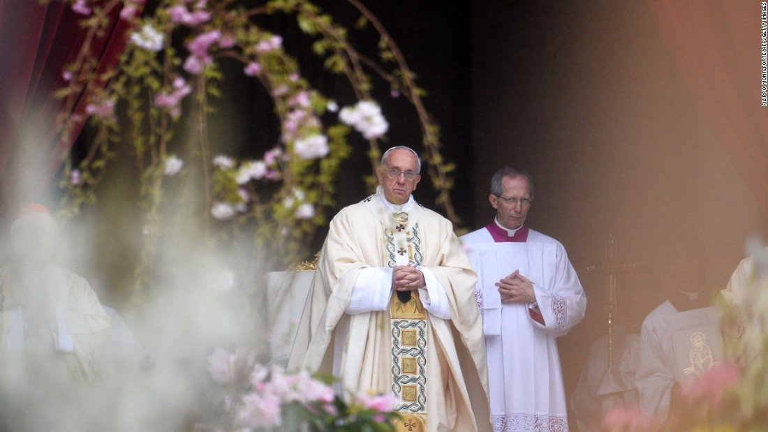 Pope Francis leads the Easter Mass at St Peter's Square.