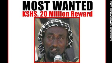 Mohamed Mohamud is seen in a wanted poster distributed by the Kenya Interior Ministry.
