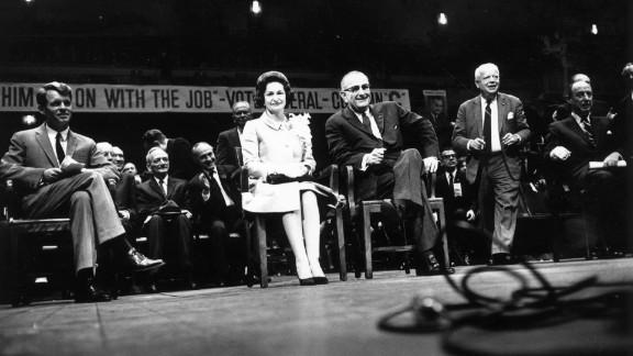 Sen. Robert Kennedy, Lady Bird Johnson and President Lyndon Johnson attend an election rally on November 3, 1964, at Madison Square Garden in New York. Johnson