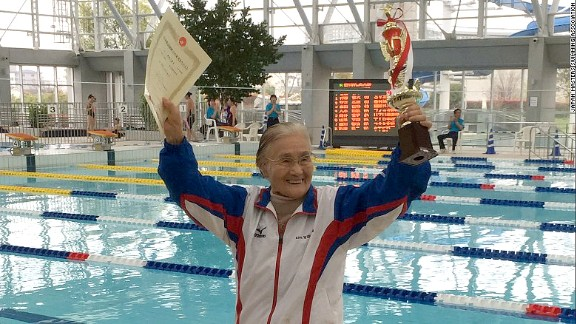 Mieko Nagaoka, a 100-year-old Japanese woman who became the world's first centenarian to complete a 1,500-meter freestyle swim, hopes to swim until she is 105. She took up swimming at age 80 to help with a knee problem. She credits the exercise with her healthy and long life. She trains four days a week.