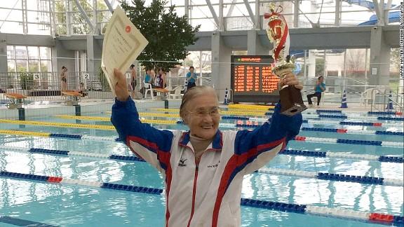 Mieko Nagaoka, a 100-year-old Japanese woman who became the world