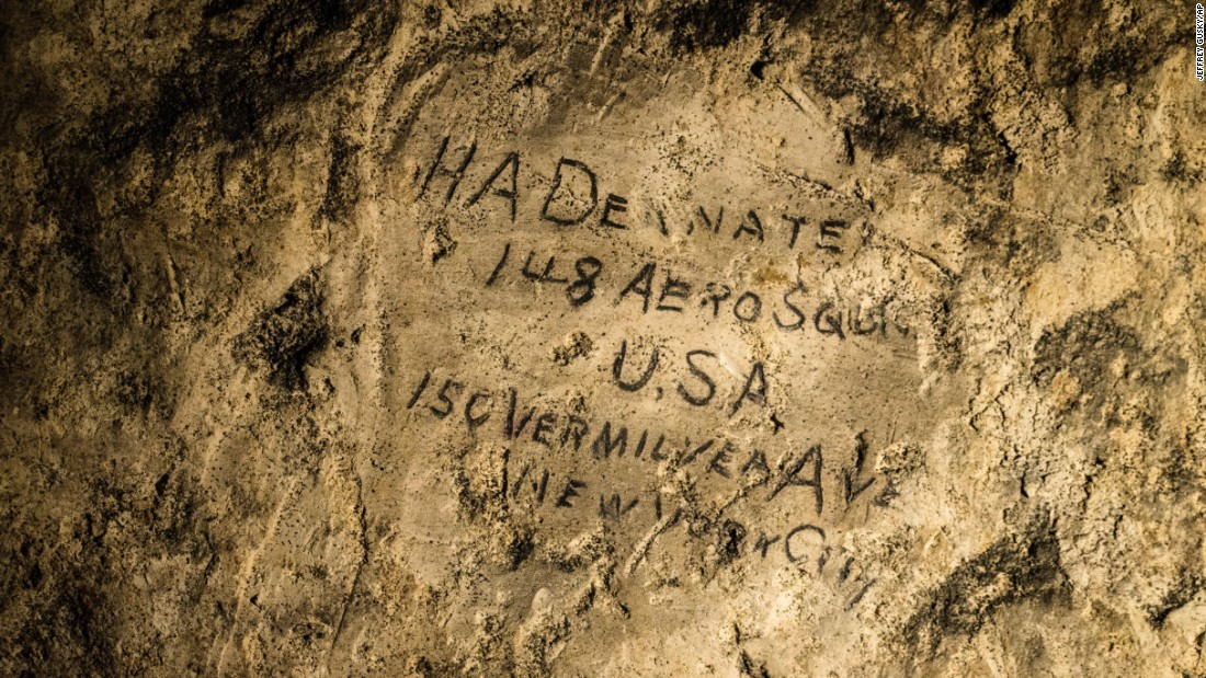 "More than 1,800 soldiers left their marks in the quarry, including ""HA Deanate, 148th Aero Squadron, USA. 150 Vermilyea Ave, New York City."" The inscriptions date to circa 1916-17."