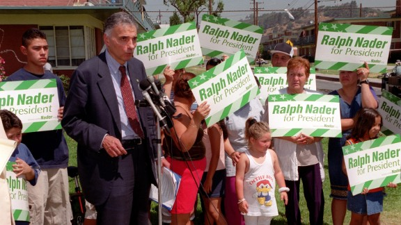 """In 2000, Ralph Nader ran on: """"Government Of, By, and For the People ... Not the Monied Interests."""""""