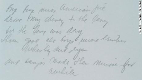 'American Pie' lyrics sell for $1 2 million